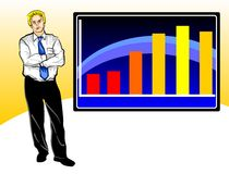 Business worries with graph Stock Photo