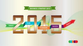 Business year strategy illustration (explain the target, plan, team work, success and profit). for presentation, website, and broc Royalty Free Stock Photo