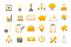 Business yellow-gray strategy vector icons set Royalty Free Stock Photo