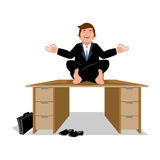 Business yoga. Businessman meditating on table. Manager sitting Royalty Free Stock Images