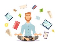 Business yoga concept. Office zen relax concentration at workspace table yoga practice vector illustration. Business concentration yoga, meditation zen pose stock illustration