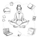 Business yoga. Girl is in the lotus position. Around are compute. R, phone, documents, alarm clock, business papers. Vector Illustration Royalty Free Stock Photography