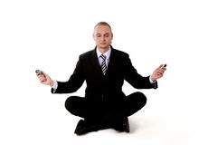 Business yoga with mobile phones Stock Photo
