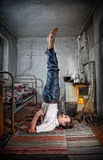 Business yoga in Russian village Stock Photos