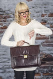 Business Young Woman Carrying a Briefcase Stock Photography
