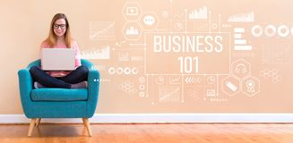 Business 101 with woman using a laptop. Business 101 with young woman using her laptop in a chair royalty free illustration