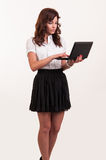 Business young woman working with laptop. Business woman working with laptop Stock Photos