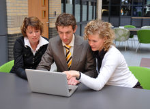 Business youngsters preparing salestalk Stock Photos