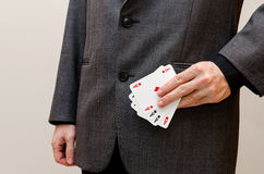 Businessamen with aces in the sleeve Stock Photography