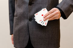 Businessamen with aces in the sleeve Royalty Free Stock Photos