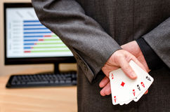 Businessamen with aces in the sleeve Stock Images