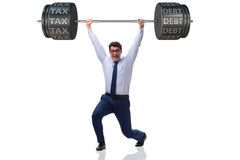 The businessan under the burden of high tax and debt Stock Photos