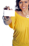 Businesscard. Woman hold out her business card and smiling Royalty Free Stock Photos