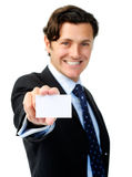 Businesscard affichant l'homme image stock