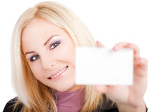 Businesscard da mulher nova Fotografia de Stock Royalty Free