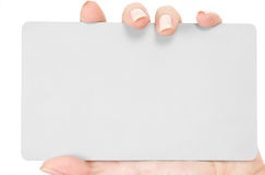 Businesscard in hand Stock Images