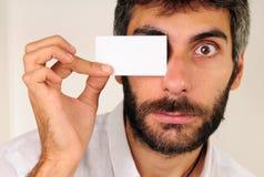 Businesscard sui miei occhi Fotografia Stock Libera da Diritti