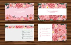 Businesscard templates with pink roses front and back view. Illustration Stock Photo