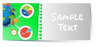 Businesscard z infographic projektem piecharts w tle ilustracji