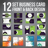 Bundle of 12 Set Business Card Simple Minimalist Front dan Back. Vector Template. royalty free stock images