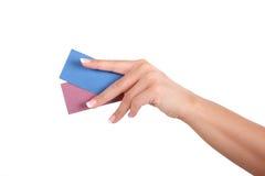 拿着妇女的businesscards 库存图片
