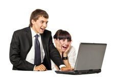 Businesscouple with Laptop Royalty Free Stock Photos