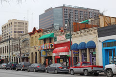 Businesses along historic 6th Street in downtown Austin, Texas. Bars, restaurants and other businesses in the Sixth Street Historic District, a major tourist royalty free stock photography
