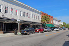 Businesses on Bay Street in downtown Beaufort, South Carolina Royalty Free Stock Image