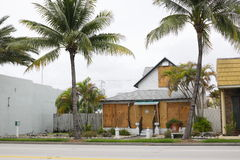 Businesses boarded up for a hurricane Stock Photo