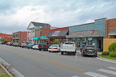 Businesses on Front Street in downtown Beaufort, North Carolina. Businesses on Front Street in downtown Beaufort, the third-oldest town in the state, rated as ` royalty free stock photo