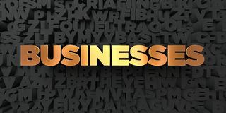 Businesses - Gold text on black background - 3D rendered royalty free stock picture. This image can be used for an online website banner ad or a print postcard Stock Image