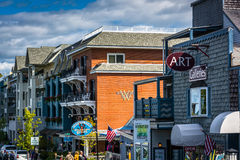 Businesses on West Street in downtown Bar Harbor, Maine. Royalty Free Stock Photo