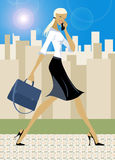 Businessgirl. Beautiful young busy woman with mobile and bag with laptop Stock Illustration
