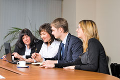 Businessgroup with laptop Stock Images