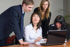 Businessgroup with laptop. Business team at meeting led by the businessman Royalty Free Stock Photography