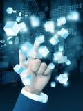 Businesshand-Pressetechnologie lizenzfreie stockbilder