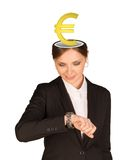 Businesslady με το ευρο- σημάδι Στοκ Φωτογραφίες
