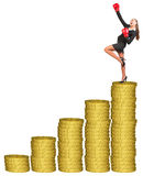 Businesslady στα εγκιβωτίζοντας γάντια στο χρυσό σωρό νομισμάτων Στοκ φωτογραφίες με δικαίωμα ελεύθερης χρήσης