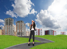 Businesslady in a city Stock Images
