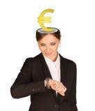 Businesslady con la muestra euro Fotos de archivo