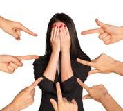 Businesslady, das ihr Gesicht versteckt Stockbild