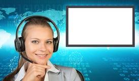 Businesslady in den Kopfhörern Stockbilder