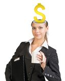 Businesslady with dollar sign Stock Photo