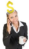 Businesslady with dollar sign Royalty Free Stock Photography