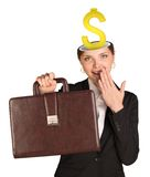 Businesslady with dollar sign Stock Photography