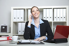 Businesslady heureux ayant un appel Photographie stock