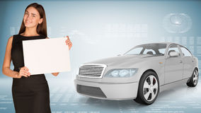 Businesslady holding blank paper and car Stock Images
