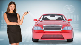 Businesslady holding car key Royalty Free Stock Photo