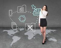 Businesslady on the map Royalty Free Stock Image