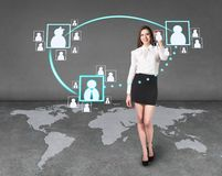 Businesslady on the map Royalty Free Stock Images